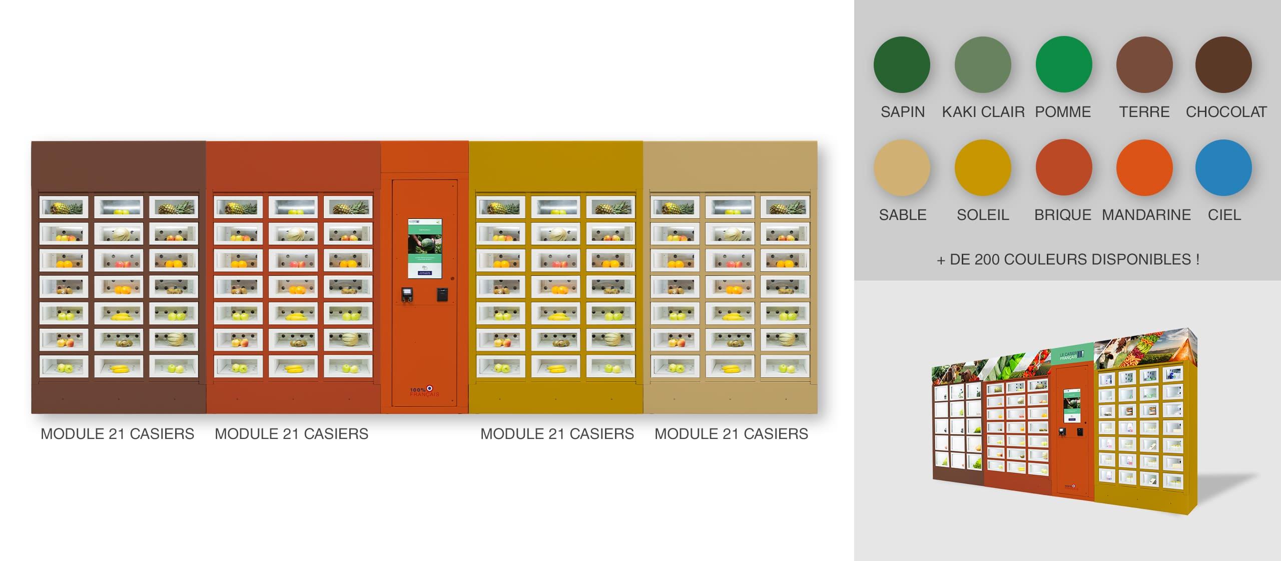Dressing different colors by module of a Le Casier Français vending machine