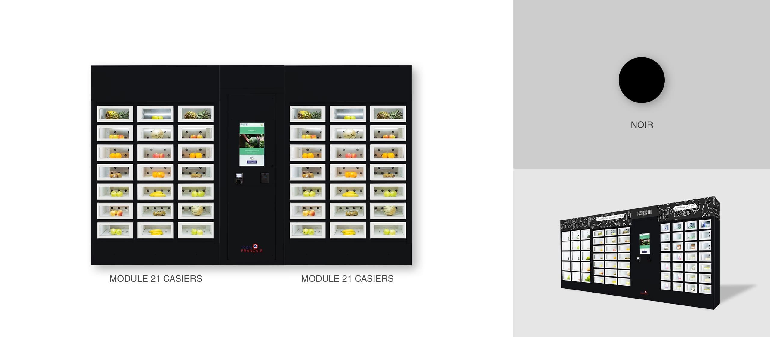 Black casing of a Le Casier Français vending machine